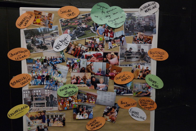 Eine große Pinnwand mit verschiedenen Fotos, auf denen Menschen in diversen Situationen abgebildet sind.