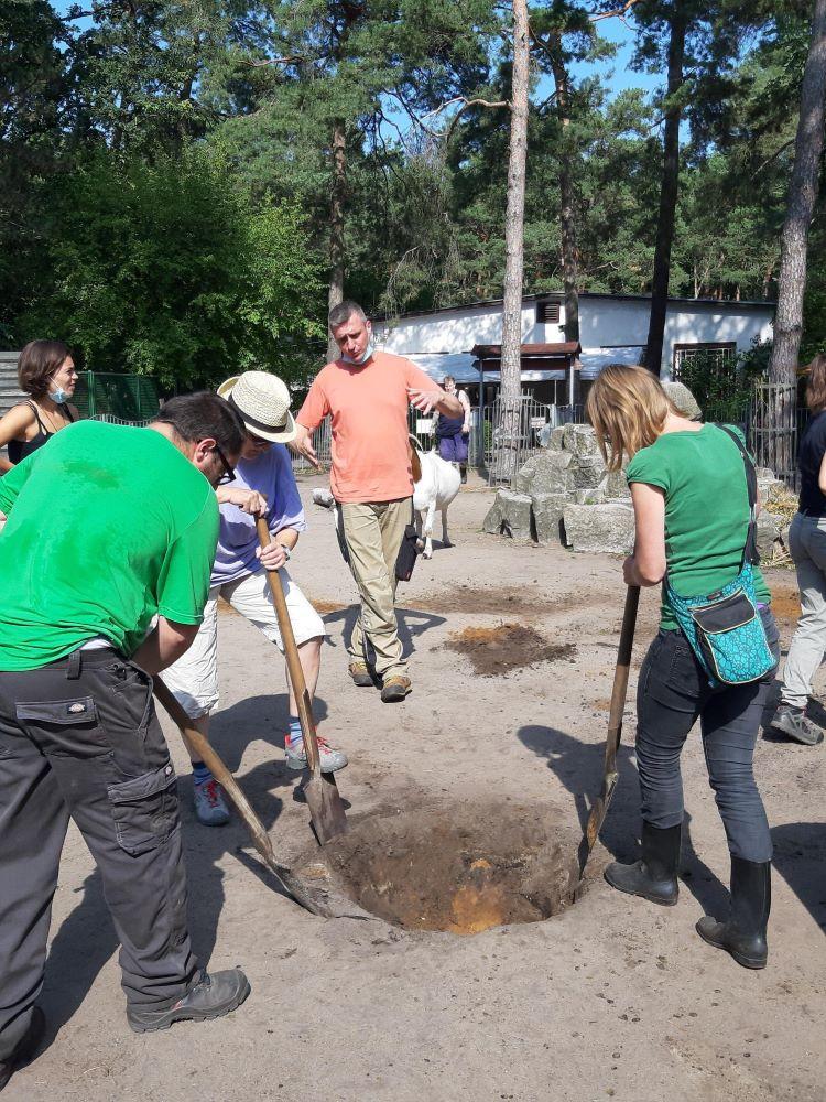 Drei Personen graben gemeinsam ein Loch in die Erde, drumherum weitere Menschen